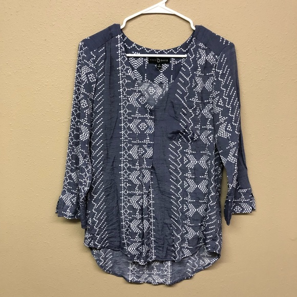 Fred David Tops - Fred David blue and white blouse